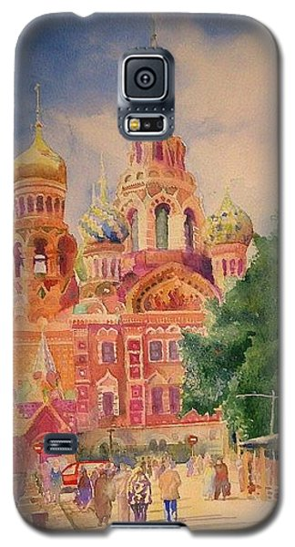 Galaxy S5 Case featuring the painting Church On The Spilt Blood by Alla Parsons