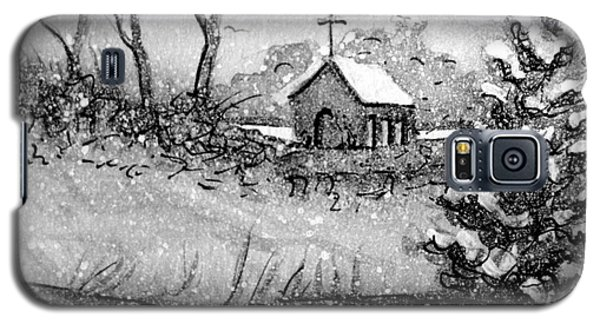 Galaxy S5 Case featuring the painting Church Snow Scene by Gretchen Allen