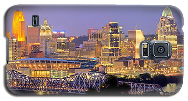 Galaxy S5 Case featuring the photograph Cincinnati Skyline At Dusk Sunset Color Panorama Ohio by Jon Holiday