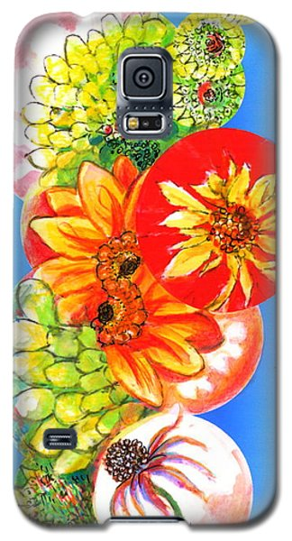 Galaxy S5 Case featuring the digital art Circles Of Flowers by Mary Armstrong