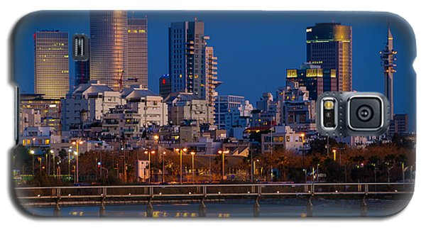 city lights and blue hour at Tel Aviv Galaxy S5 Case