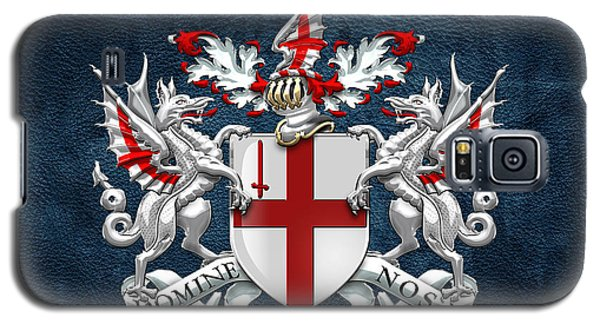 City Of London - Coat Of Arms Over Blue Leather  Galaxy S5 Case