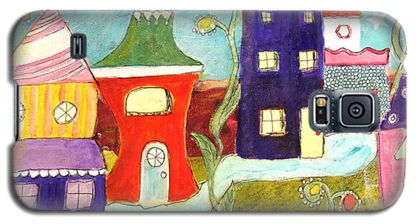 Galaxy S5 Case featuring the painting City Scape by Lou Belcher