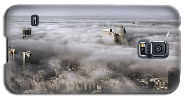 Galaxy S5 Case featuring the photograph City Skyscrapers Above The Clouds by Ron Shoshani