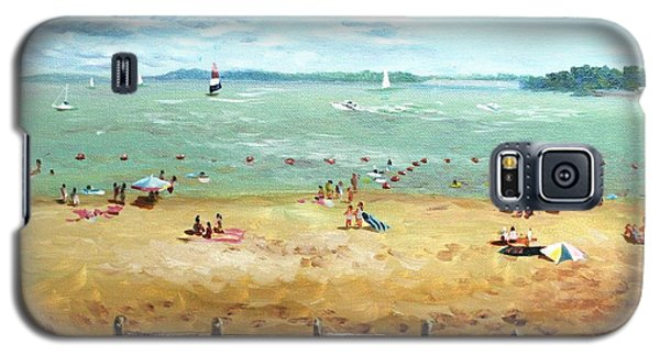Galaxy S5 Case featuring the painting Carlyle Lake Beach In Il by Ping Yan