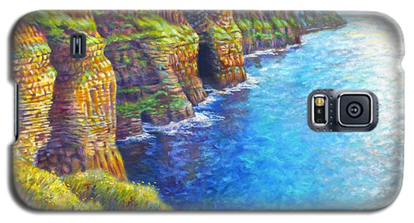 Galaxy S5 Case featuring the painting Cliffs Of Moher by Nancy Tilles