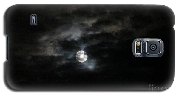 Galaxy S5 Case featuring the photograph Night Time Cloudy Dark Moon by Barbara Yearty