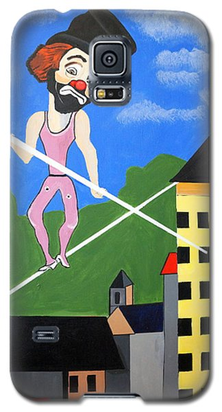 Galaxy S5 Case featuring the painting Clown Tight Roping by Nora Shepley