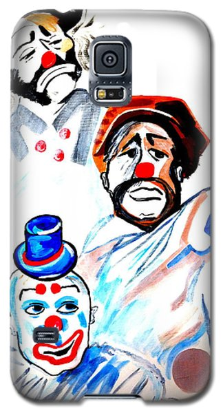 Galaxy S5 Case featuring the painting Clowns In Heaven by Nora Shepley