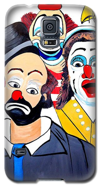 Galaxy S5 Case featuring the painting Clowns In Shock by Nora Shepley