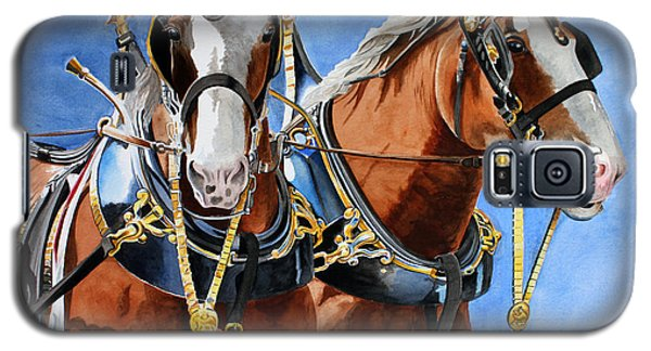 Galaxy S5 Case featuring the painting Clydesdale Duo by Debbie Hart