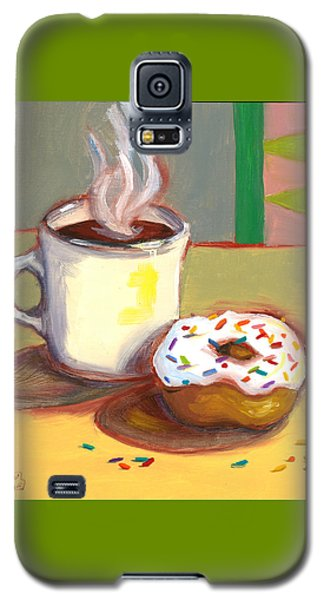 Galaxy S5 Case featuring the painting Coffee And Donut by Susan Thomas