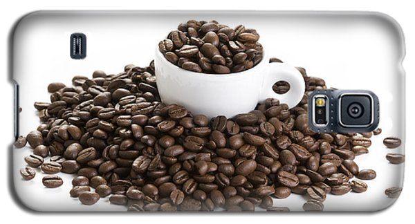 Galaxy S5 Case featuring the photograph Coffee Beans And Coffee Cup Isolated On White by Lee Avison