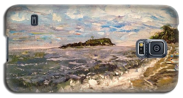 Galaxy S5 Case featuring the painting Cold Sea On A Sunny Day by Belinda Low