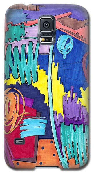 Galaxy S5 Case featuring the painting Color Fun V by Teddy Campagna