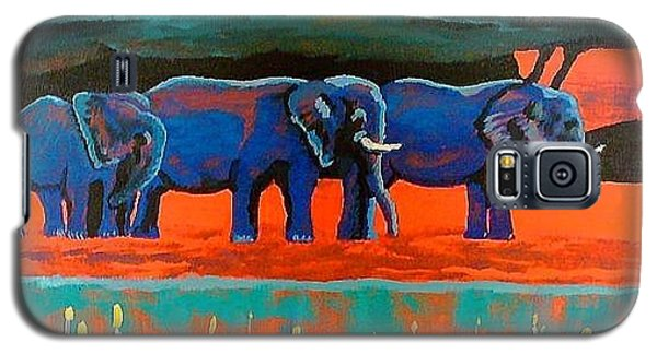 Galaxy S5 Case featuring the painting Color Study Elephants by Brenda Pressnall