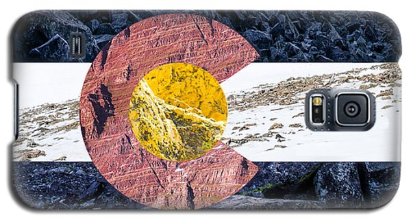 Castle Galaxy S5 Case - Colorado State Flag With Mountain Textures by Aaron Spong