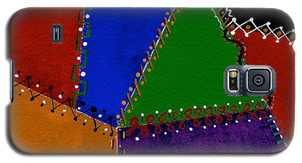 Galaxy S5 Case featuring the painting Colorful And Crazy Patchwork Quilt by Nan Wright