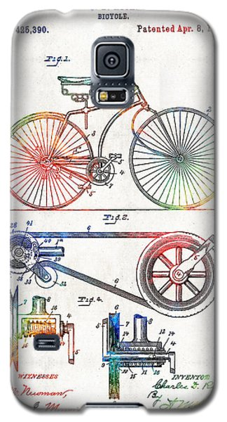 Colorful Bike Art - Vintage Patent - By Sharon Cummings Galaxy S5 Case by Sharon Cummings