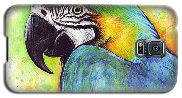 Parrot Galaxy S5 Case - Macaw Watercolor by Olga Shvartsur