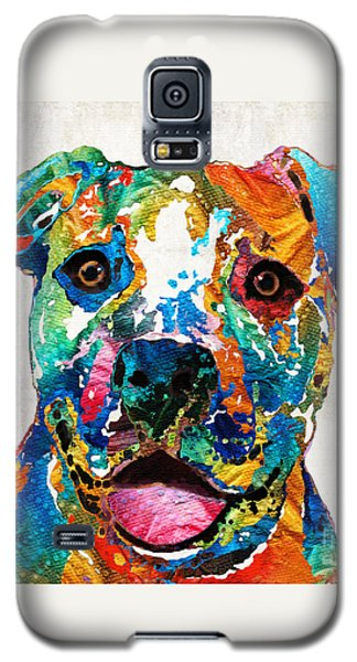 Colorful Dog Pit Bull Art - Happy - By Sharon Cummings Galaxy S5 Case