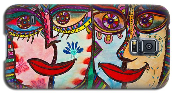 Colorful Faces Gazing - Ink Abstract Faces Galaxy S5 Case