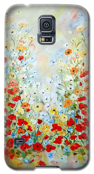 Galaxy S5 Case featuring the painting Colorful Field Of Poppies by Dorothy Maier