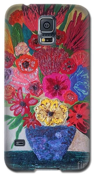 Galaxy S5 Case featuring the painting Colorful Flowers by Jasna Gopic