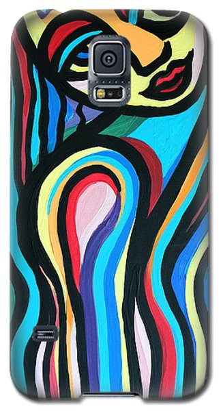 Galaxy S5 Case featuring the painting Colorful Lady  by Cynthia Snyder