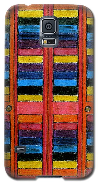 Galaxy S5 Case featuring the drawing Colorful Louvre Doors by Patricia Januszkiewicz