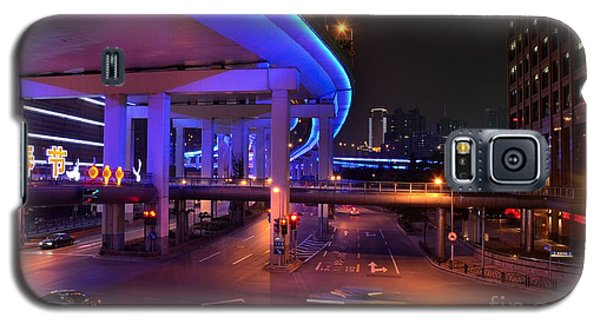 Colorful Night Traffic Scene In Shanghai China Galaxy S5 Case