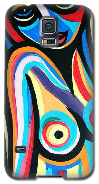 Galaxy S5 Case featuring the painting Colorful Nude Lady by Cynthia Snyder