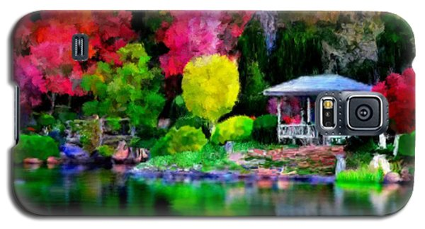 Galaxy S5 Case featuring the painting Colorful Park At The Lake by Bruce Nutting