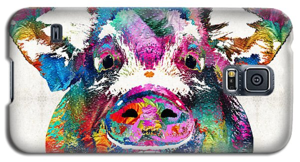 Colorful Pig Art - Squeal Appeal - By Sharon Cummings Galaxy S5 Case by Sharon Cummings