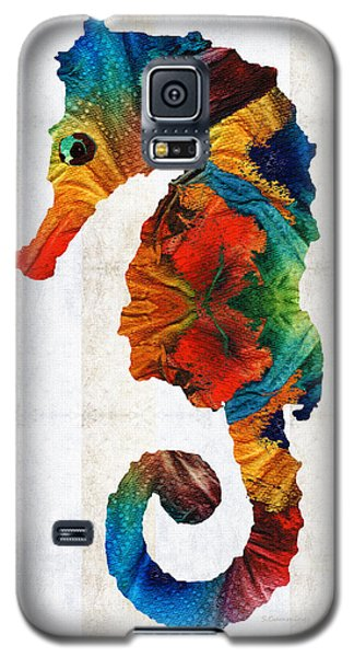 Seahorse Galaxy S5 Case - Colorful Seahorse Art By Sharon Cummings by Sharon Cummings