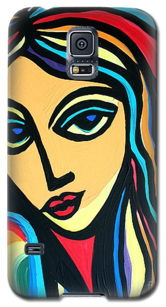 Galaxy S5 Case featuring the painting Colorful Stare by Cynthia Snyder