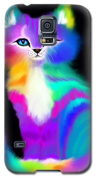 Colorful Striped Rainbow Cat Galaxy S5 Case
