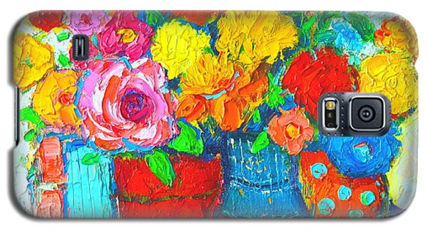 Colorful Vases And Flowers - Abstract Expressionist Painting Galaxy S5 Case