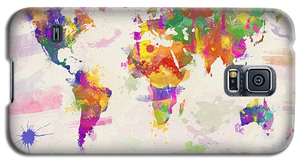 Colorful Watercolor World Map Galaxy S5 Case