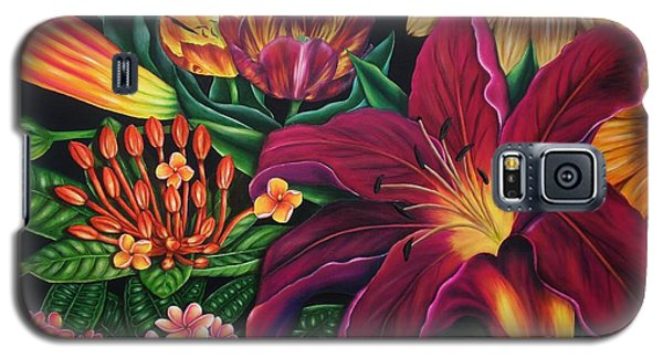Galaxy S5 Case featuring the painting Colors Garden by Paula L
