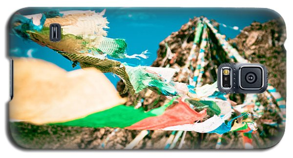 Colourfull Praying Buddhist Flags Lungta And Mountain At Background Galaxy S5 Case