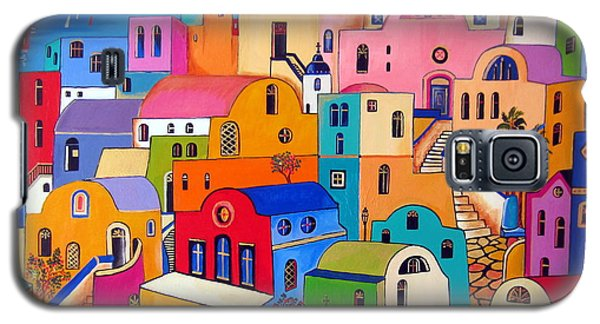 Galaxy S5 Case featuring the painting Colours In Santorini by Roberto Gagliardi