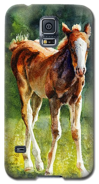 Galaxy S5 Case featuring the painting Colt In Green Pastures by Bonnie Rinier