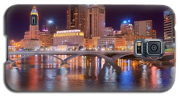 Columbus Skyline At Night Color Panorama Ohio Galaxy S5 Case by Jon Holiday