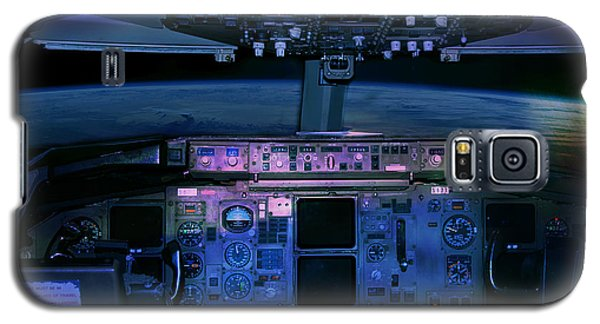 Commercial Airplane Cockpit By Night Galaxy S5 Case by Gunter Nezhoda