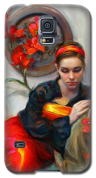 Common Threads - Divine Feminine In Silk Red Dress Galaxy S5 Case by Talya Johnson