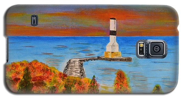 Galaxy S5 Case featuring the painting Fall, Conneaut Ohio Light House by Melvin Turner