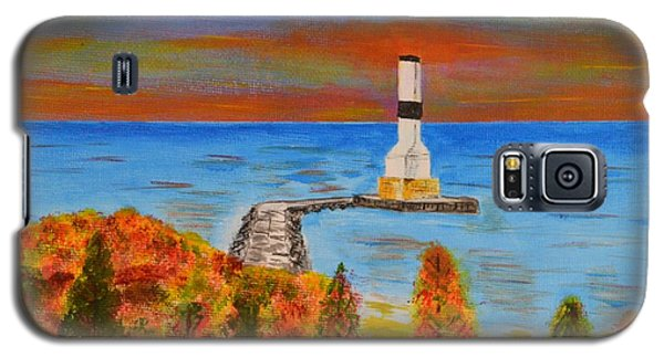 Fall, Conneaut Ohio Light House Galaxy S5 Case by Melvin Turner
