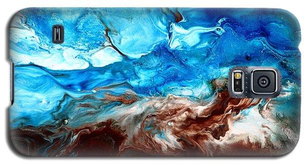 Contemporary Blue Abstract Art Fluid Painting-rapid By Kredart Galaxy S5 Case