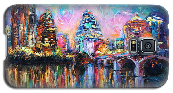 Contemporary Downtown Austin Art Painting Night Skyline Cityscape Painting Texas Galaxy S5 Case by Svetlana Novikova